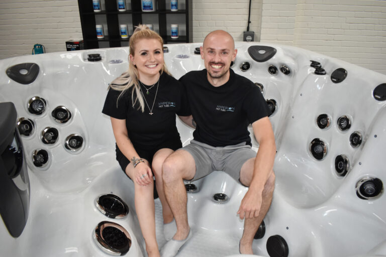 Terry Marsh and Eleanor Meadows of Hyperion Hot Tubs Ltd. Picture Source: Dorset Biz News.